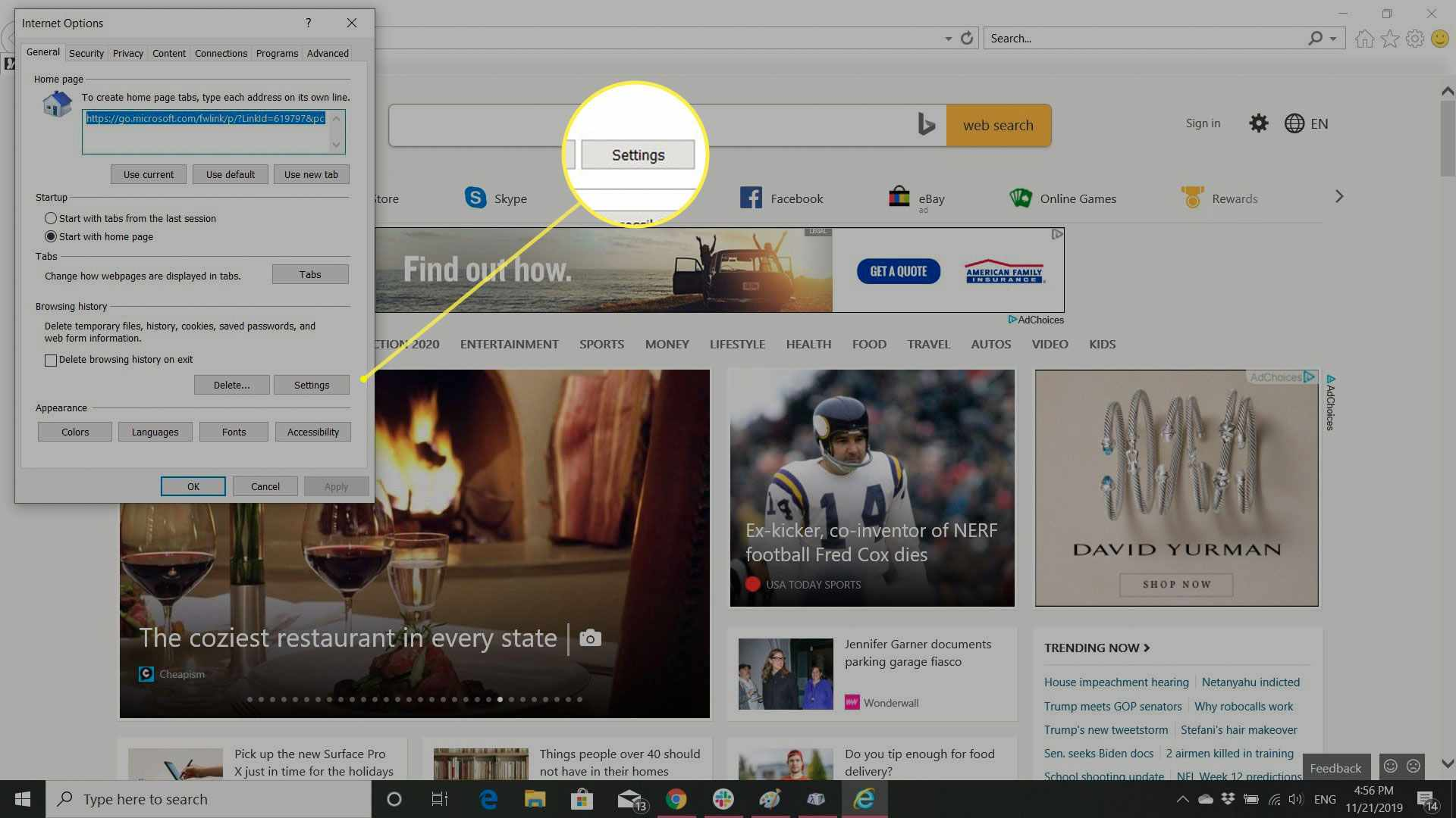 Internet Settings in IE with the Browser History Settings button highlighted
