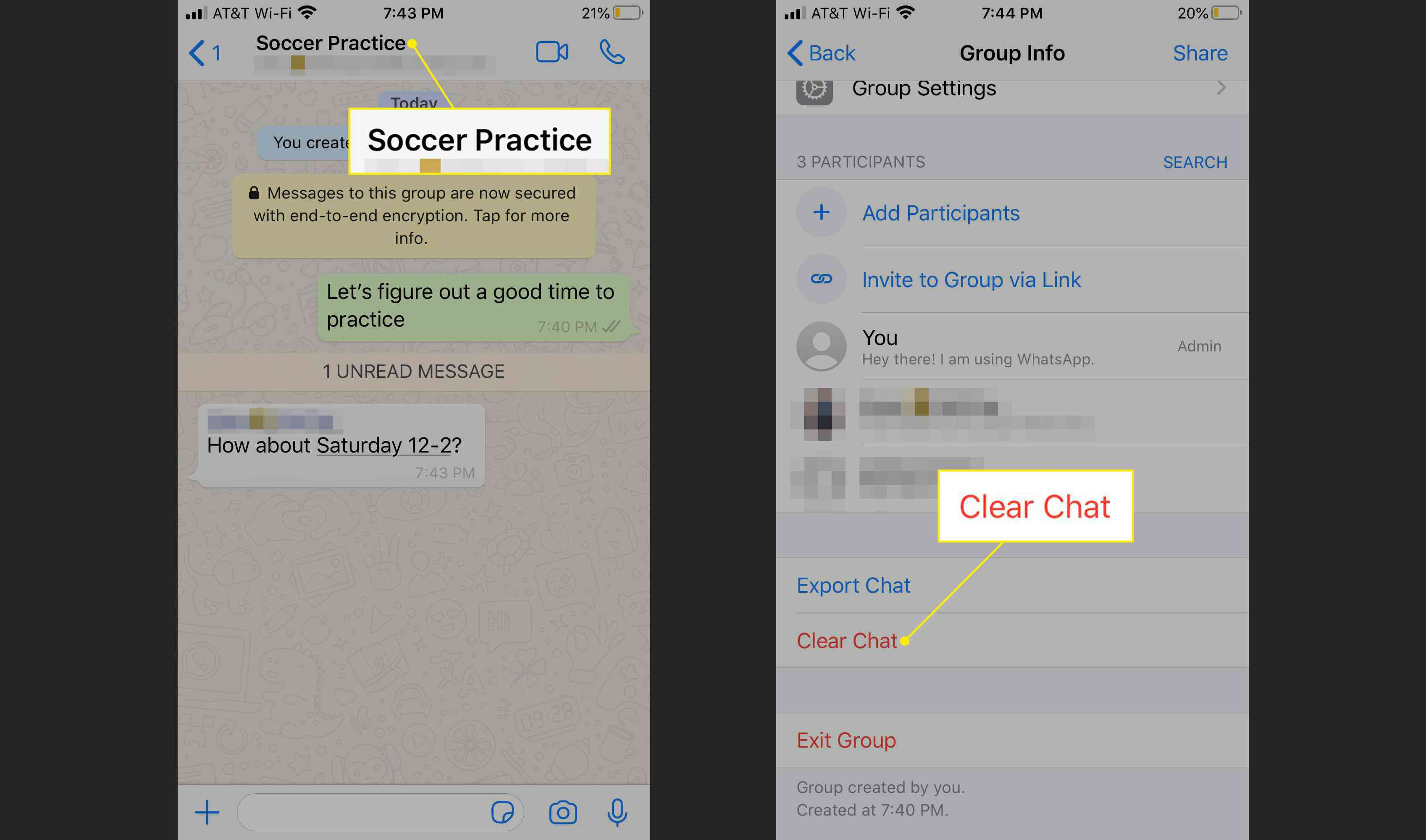 Clearing a WhatsApp chat history
