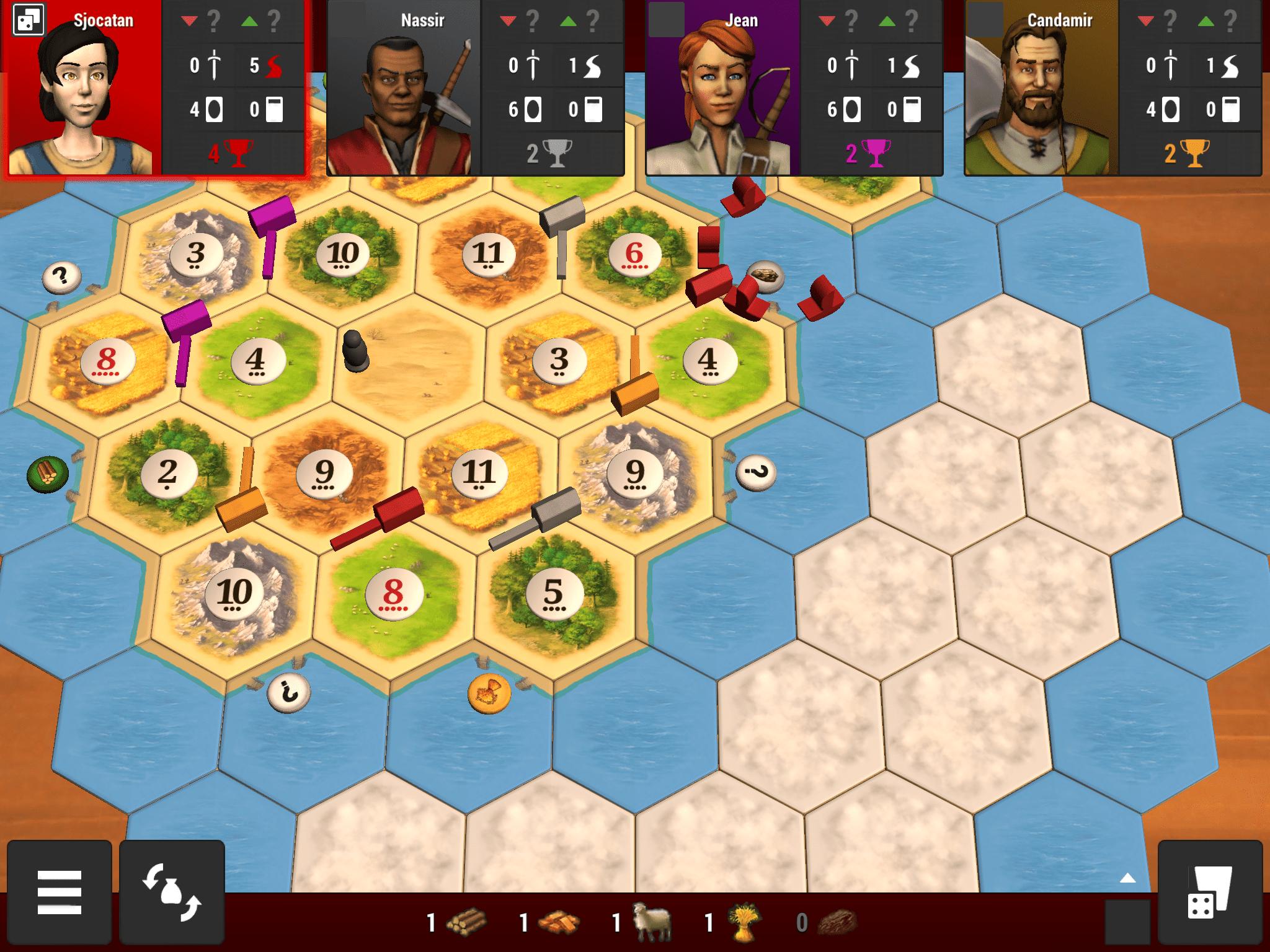 Screenshot of Catan Universe mobile board game