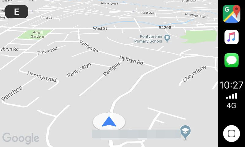 Google Maps on CarPlay's map screen