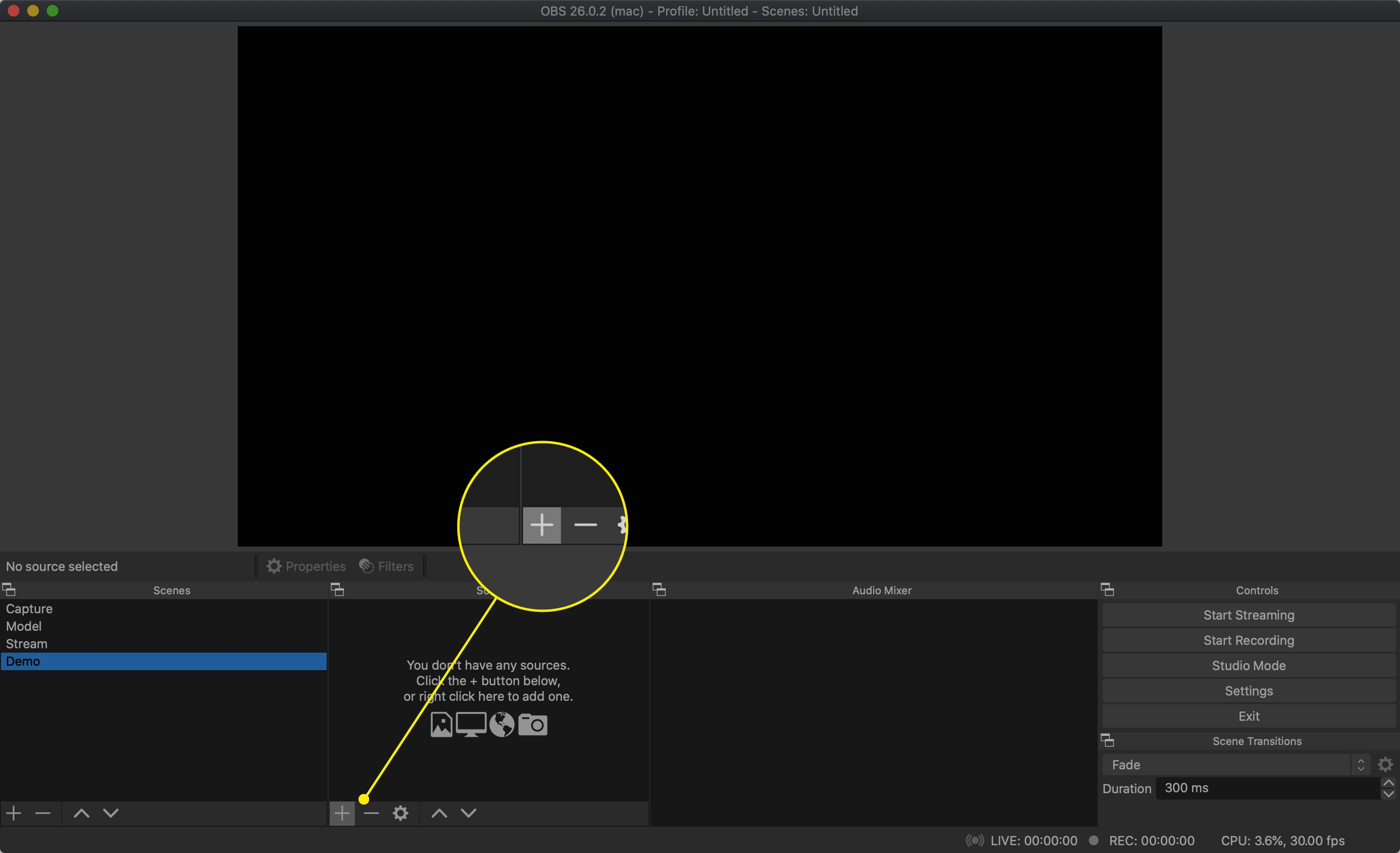 The Add Source button in OBS