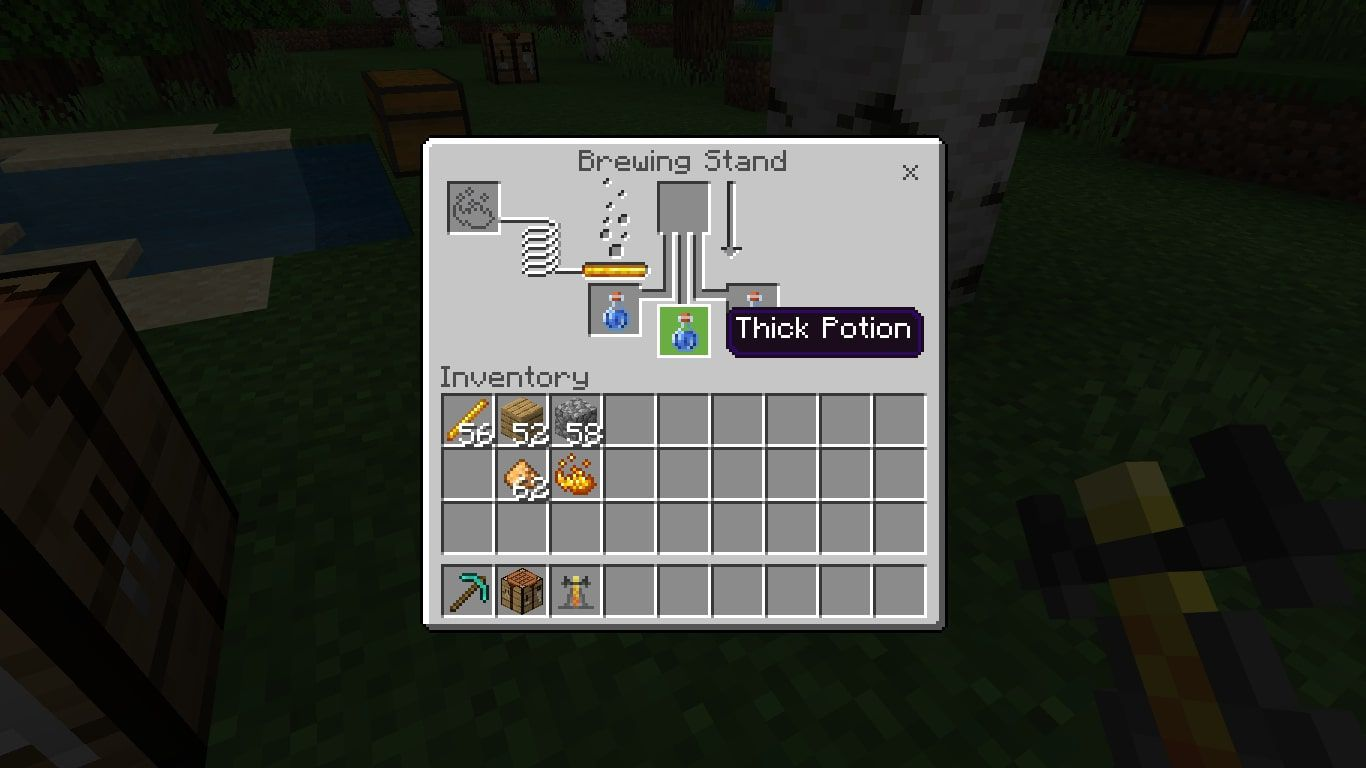 A Thick Potion in the Minecraft brewing menu