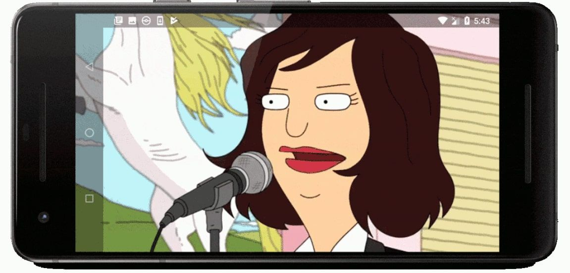 The Home button on a phone playing Bob's Burgers on the YouTube app