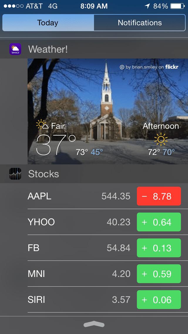 Notification Center Widgets in iOS 8