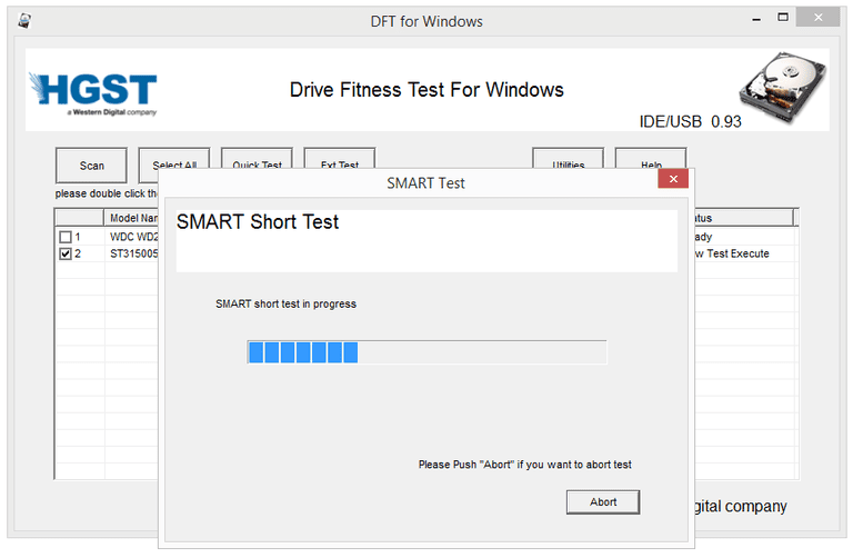 Screenshot of Windows Drive Fitness Test v0.95