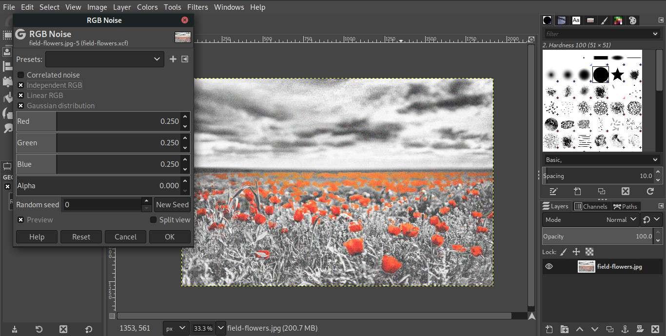 GIMP RGB noise