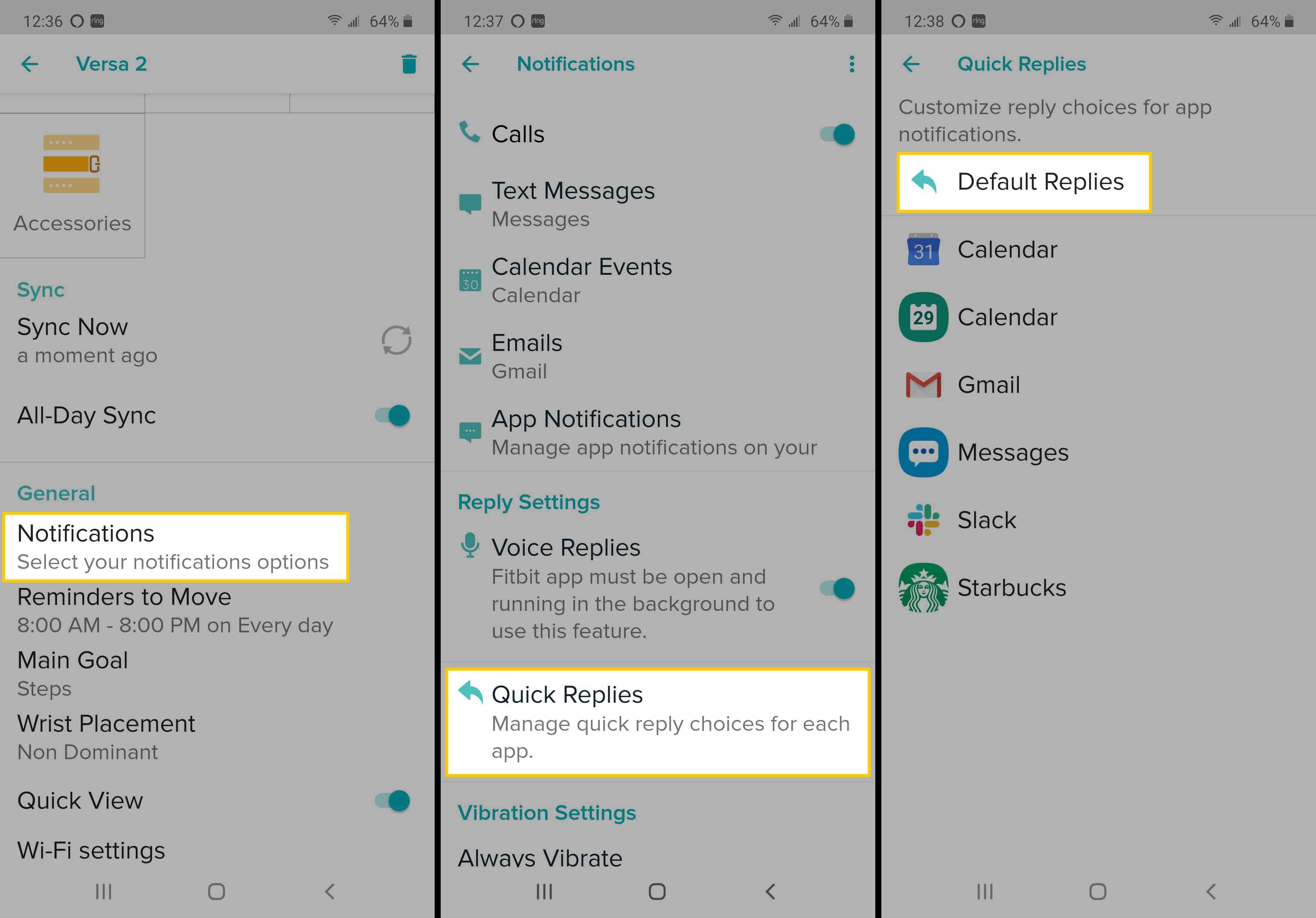 Screenshots showing the Default Replies option on Fitbit App.