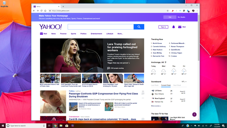 Yahoo! homepage with Mail on Windows Desktop