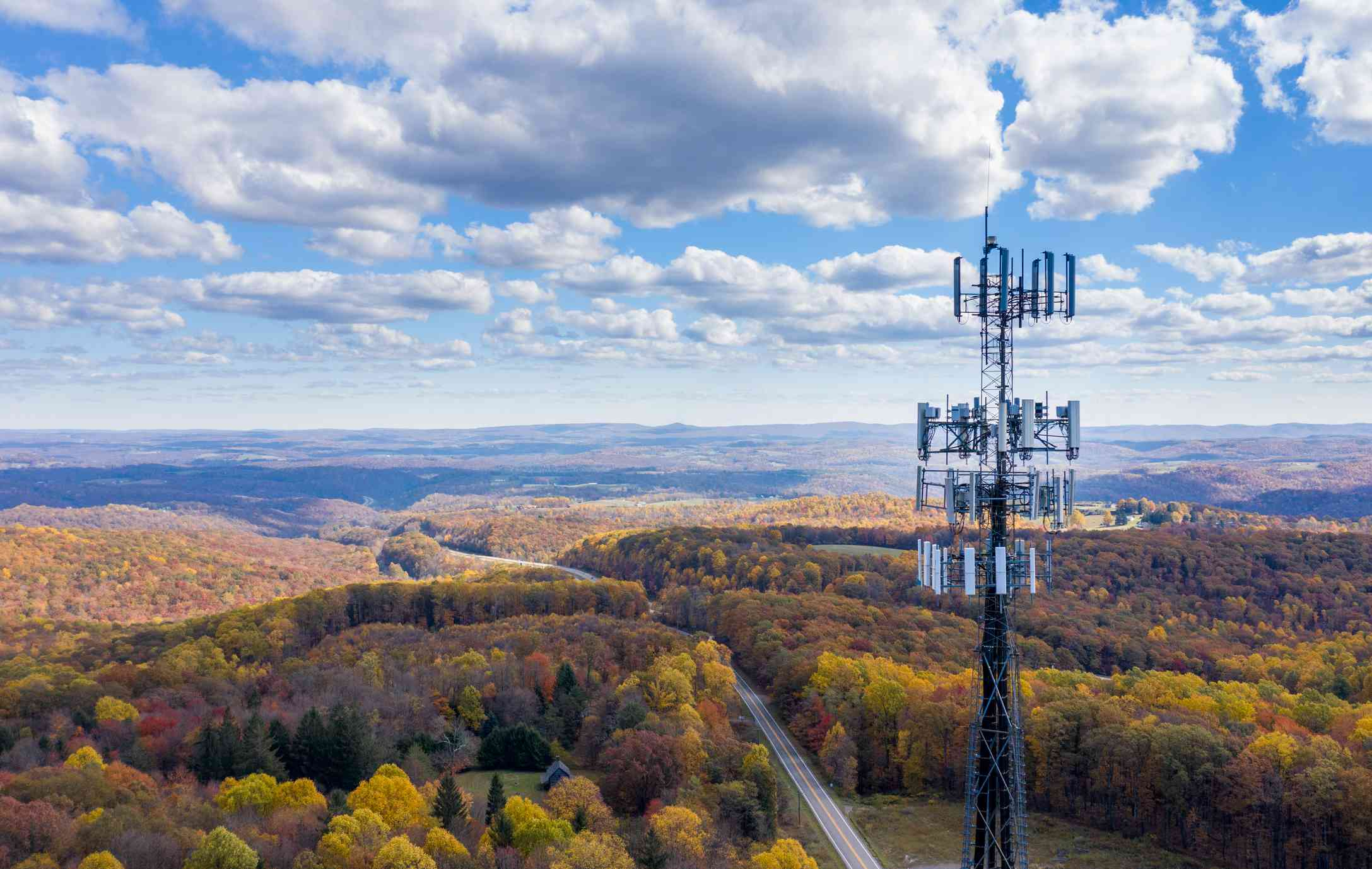Cell phone tower in a rural areas.