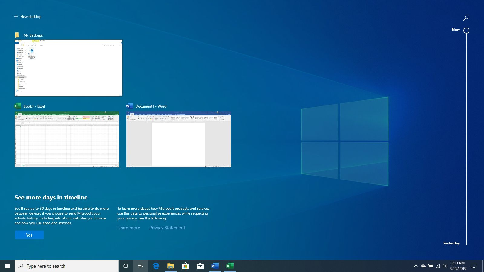 The View Task view in Windows 10.