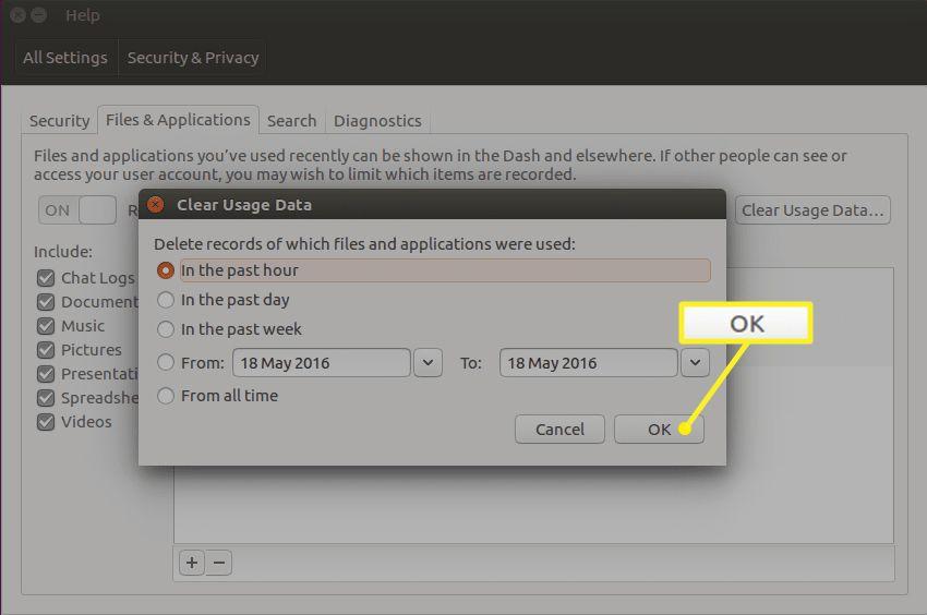 Clear Usage Data options in Ubuntu Dash