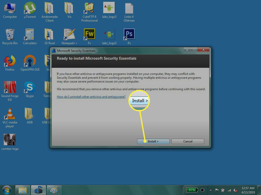 Click Install to complete of the final step in MSE's setup wizard.