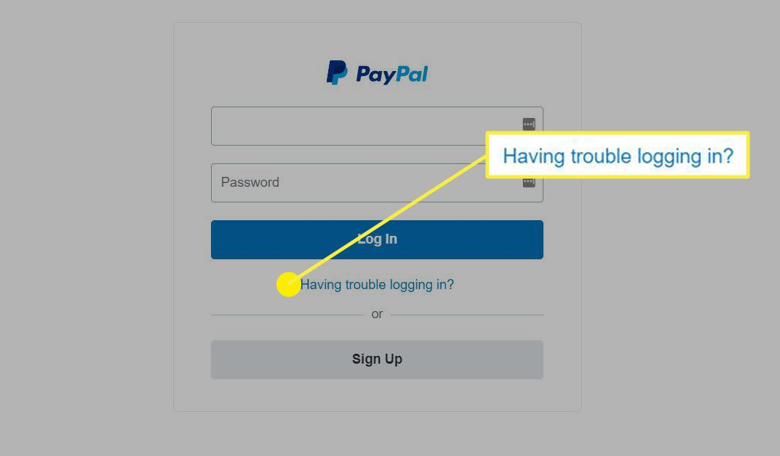 Having Trouble Logging In link in PayPal