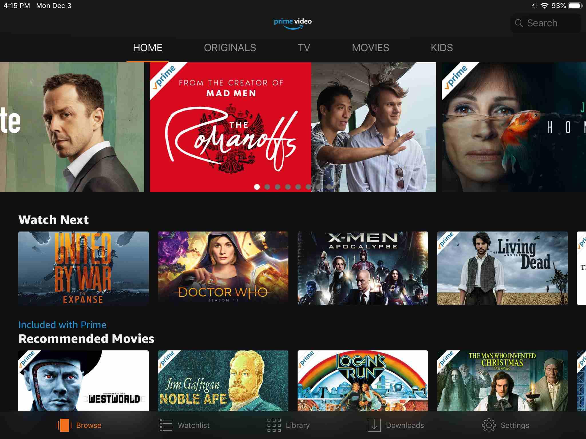 Amazon Prime Video app screen on iPad