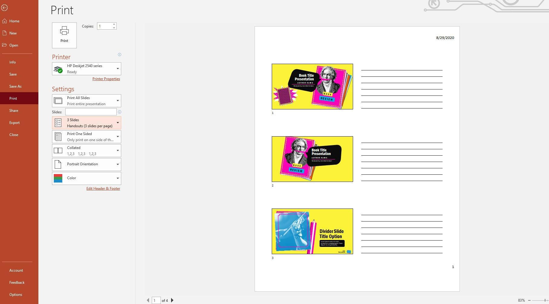 PowerPoint print page