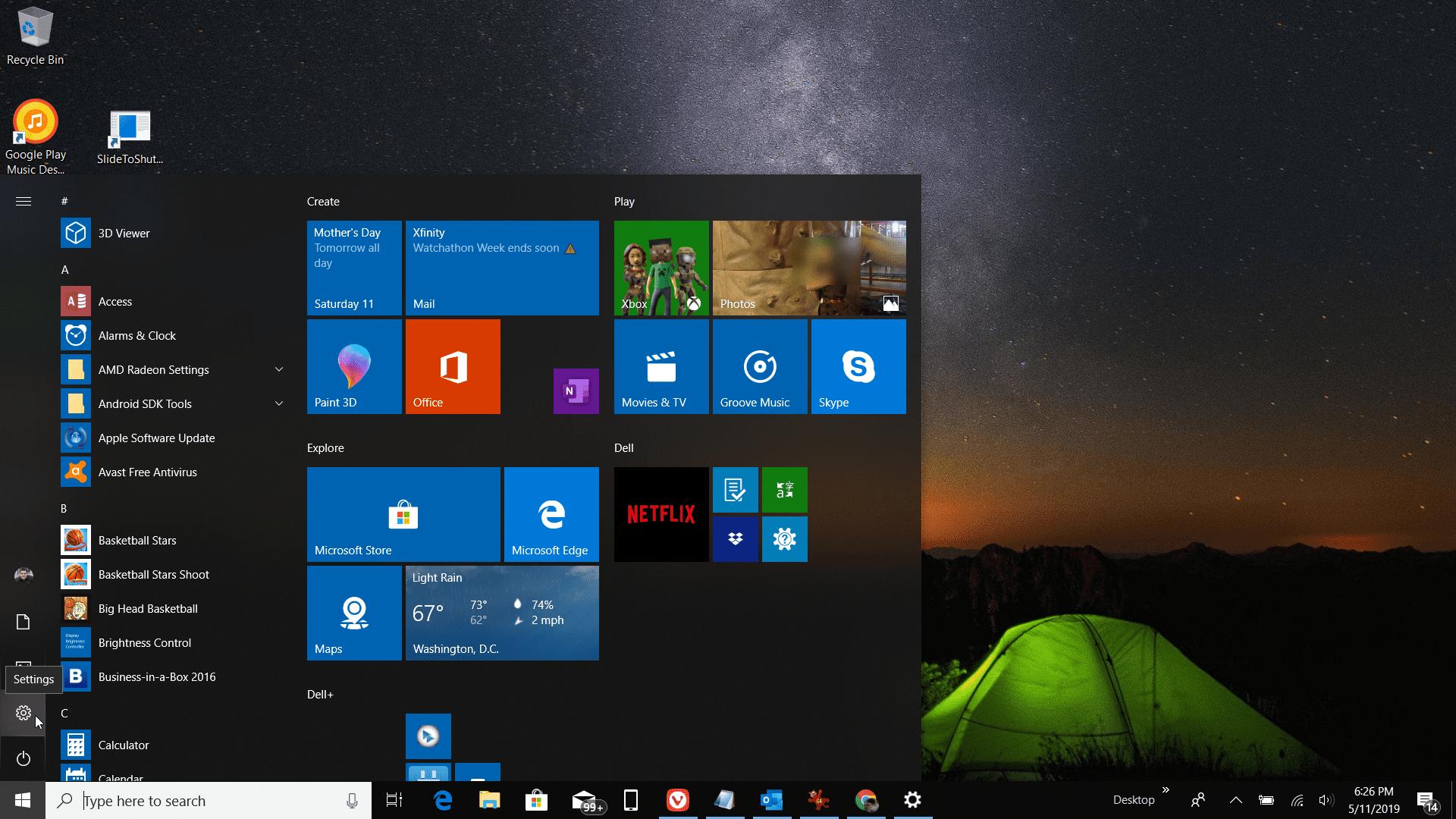 Screenshot of Settings in Windows 10