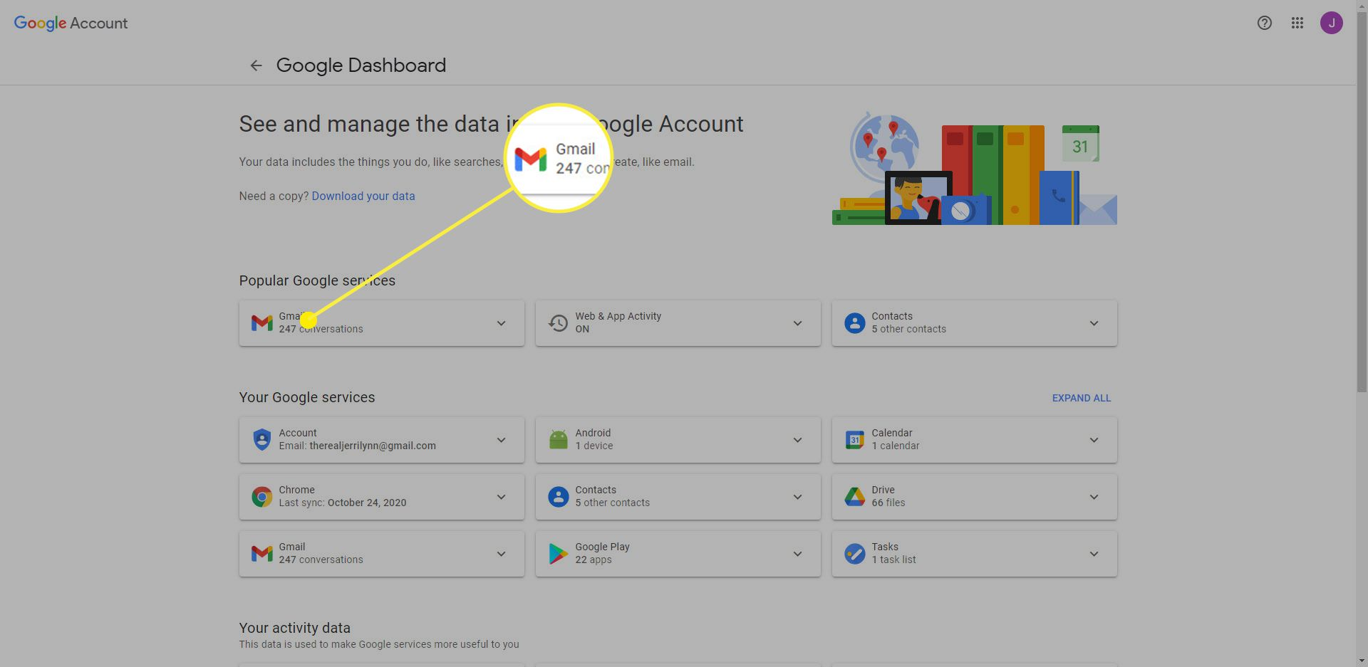 Google Dashboard with the Gmail heading highlighted