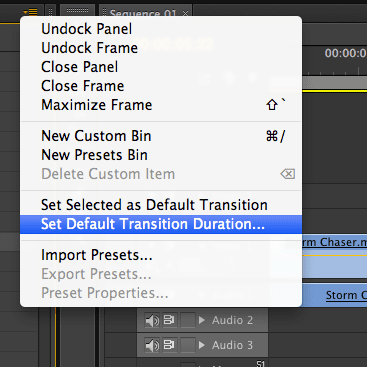 Setting a Default Transition in Adobe Premiere Pro CS6