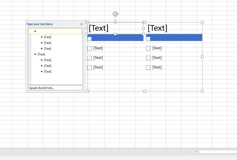 Designing a SmartArt bullet list in Excel