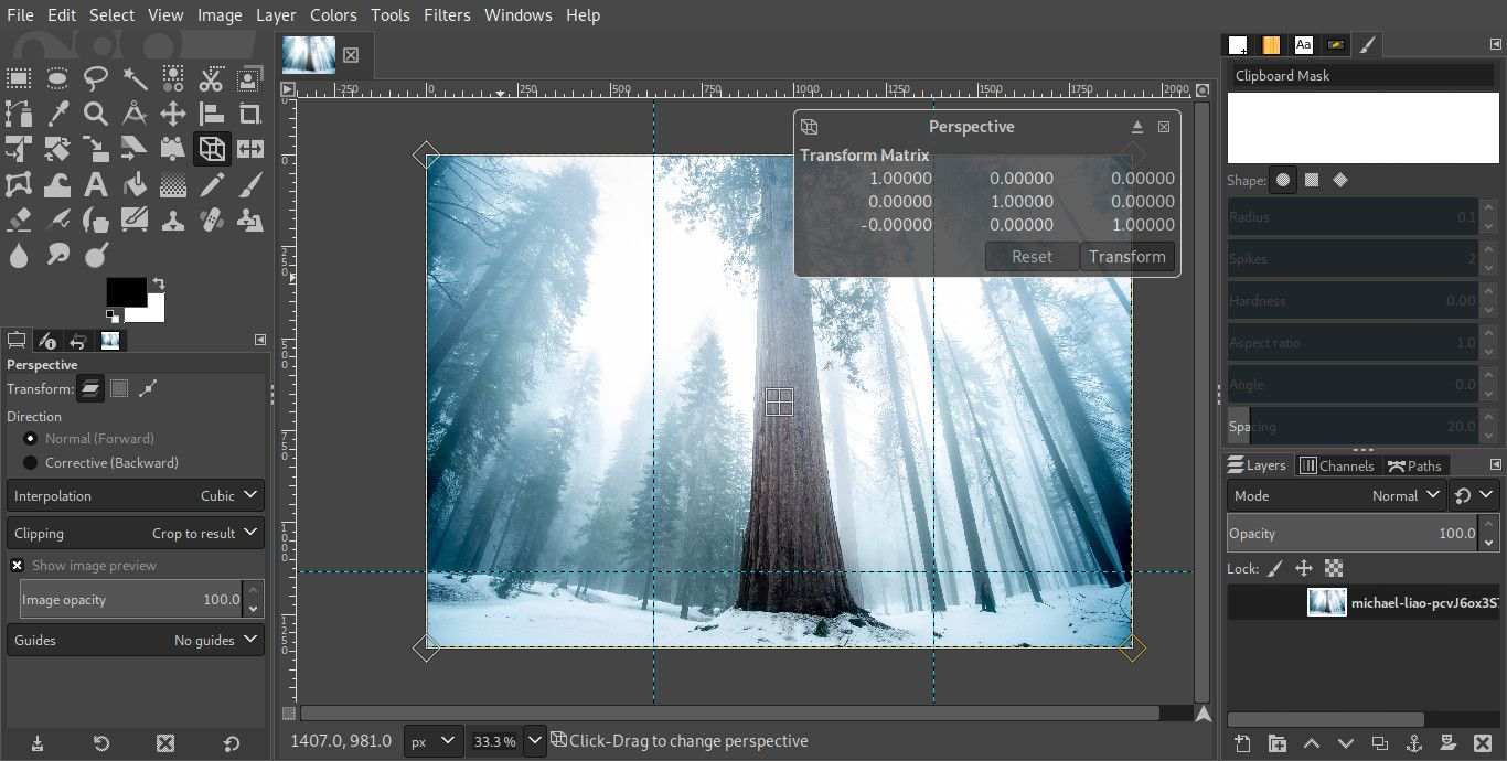 GIMP with the perspective tool active