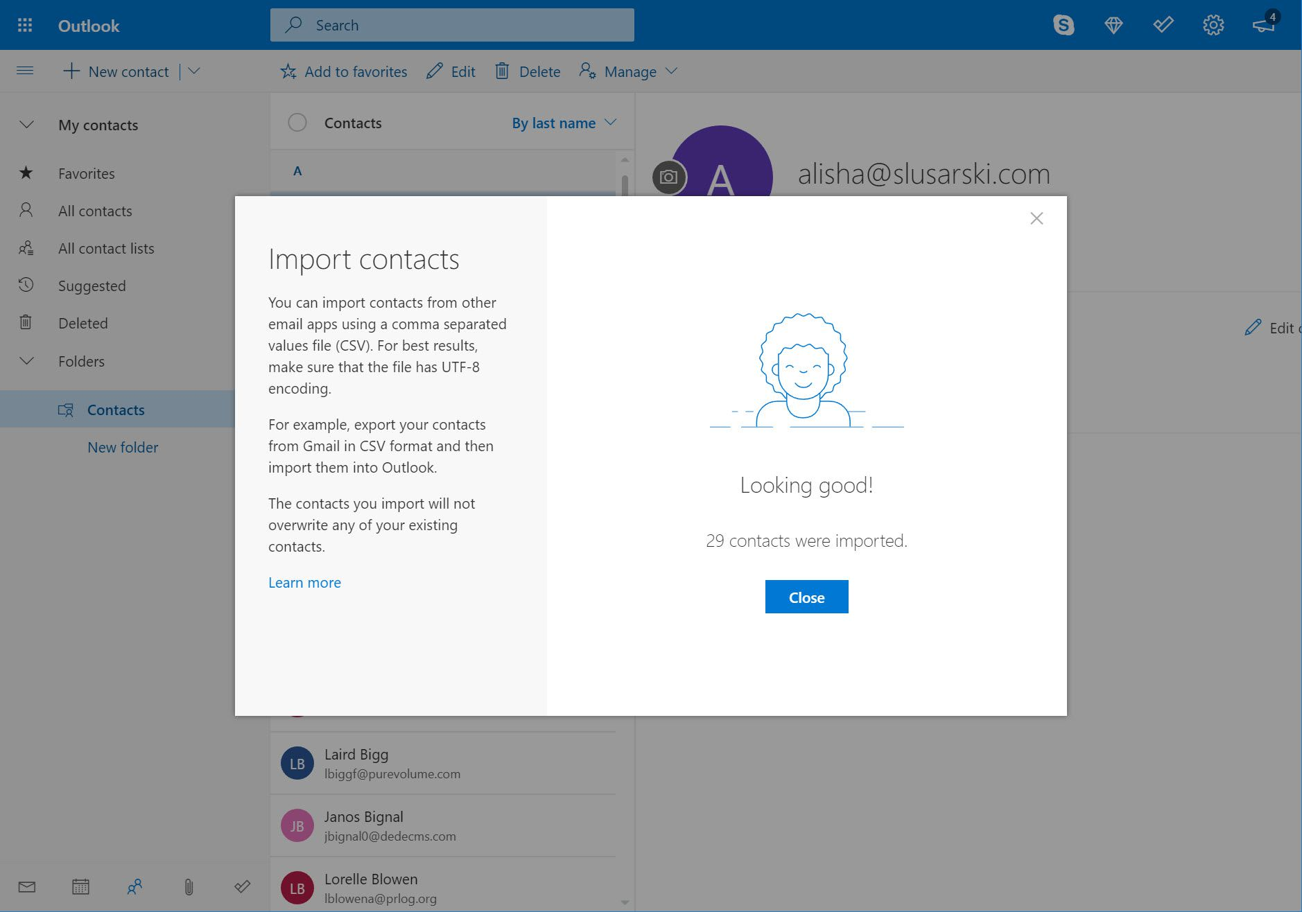 Import contacts complete screen in Outlook.com