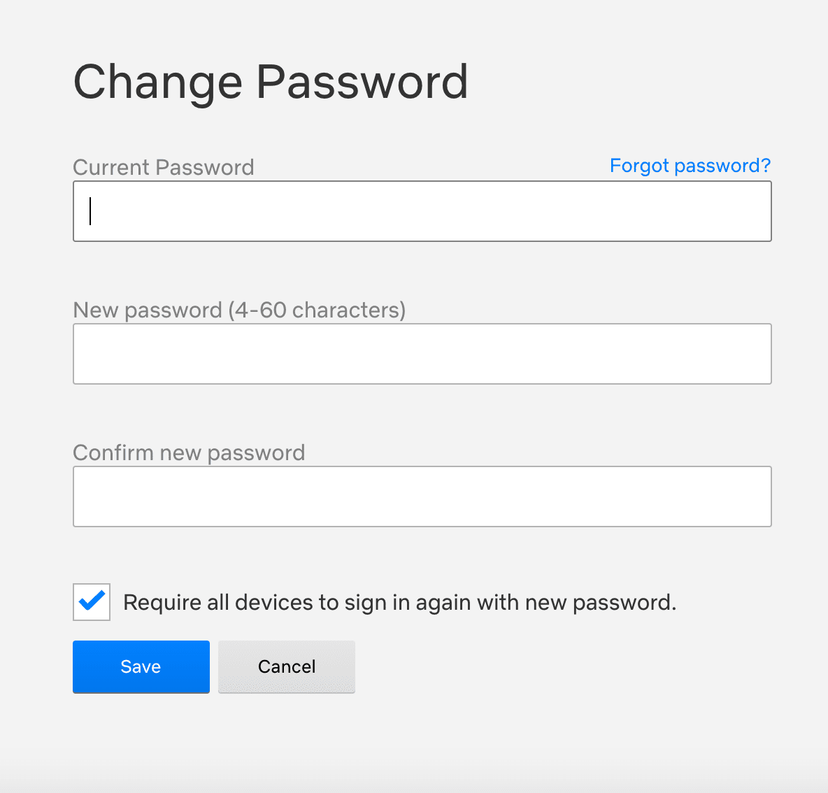 CHNGING PASSWORD ON NETFLIX