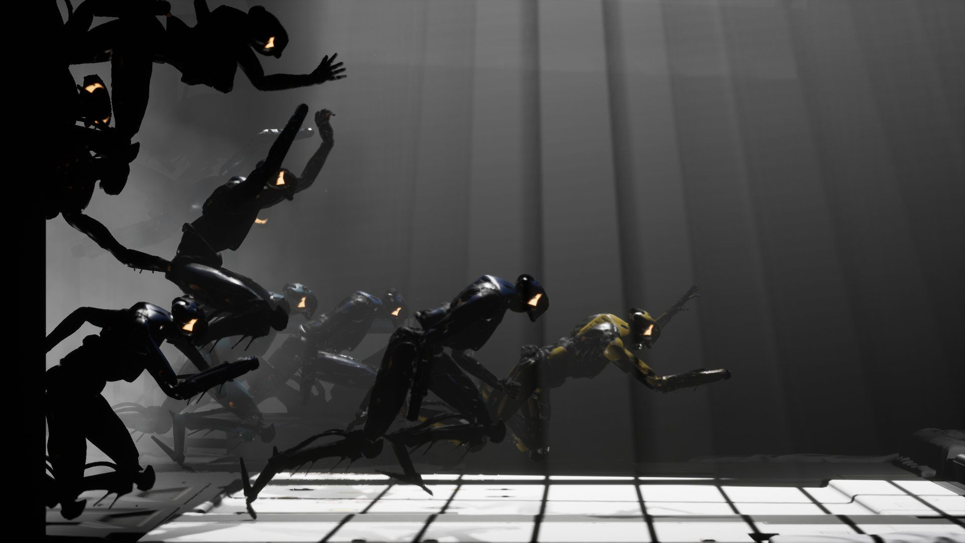 A number of humanoid robots race from the left side of the screen towards the right.