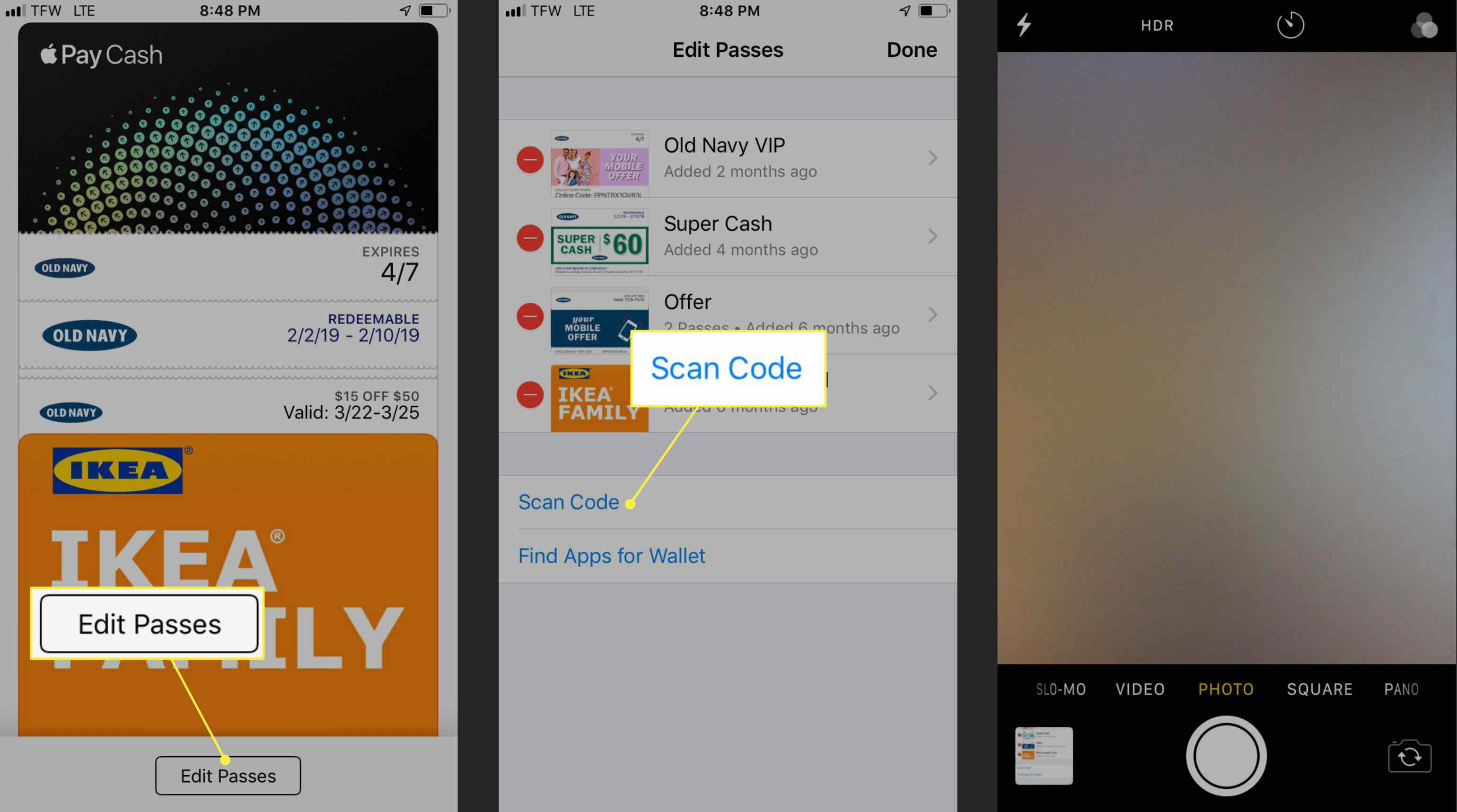 The Edit Passes and Scan Code commands in Apple Wallet