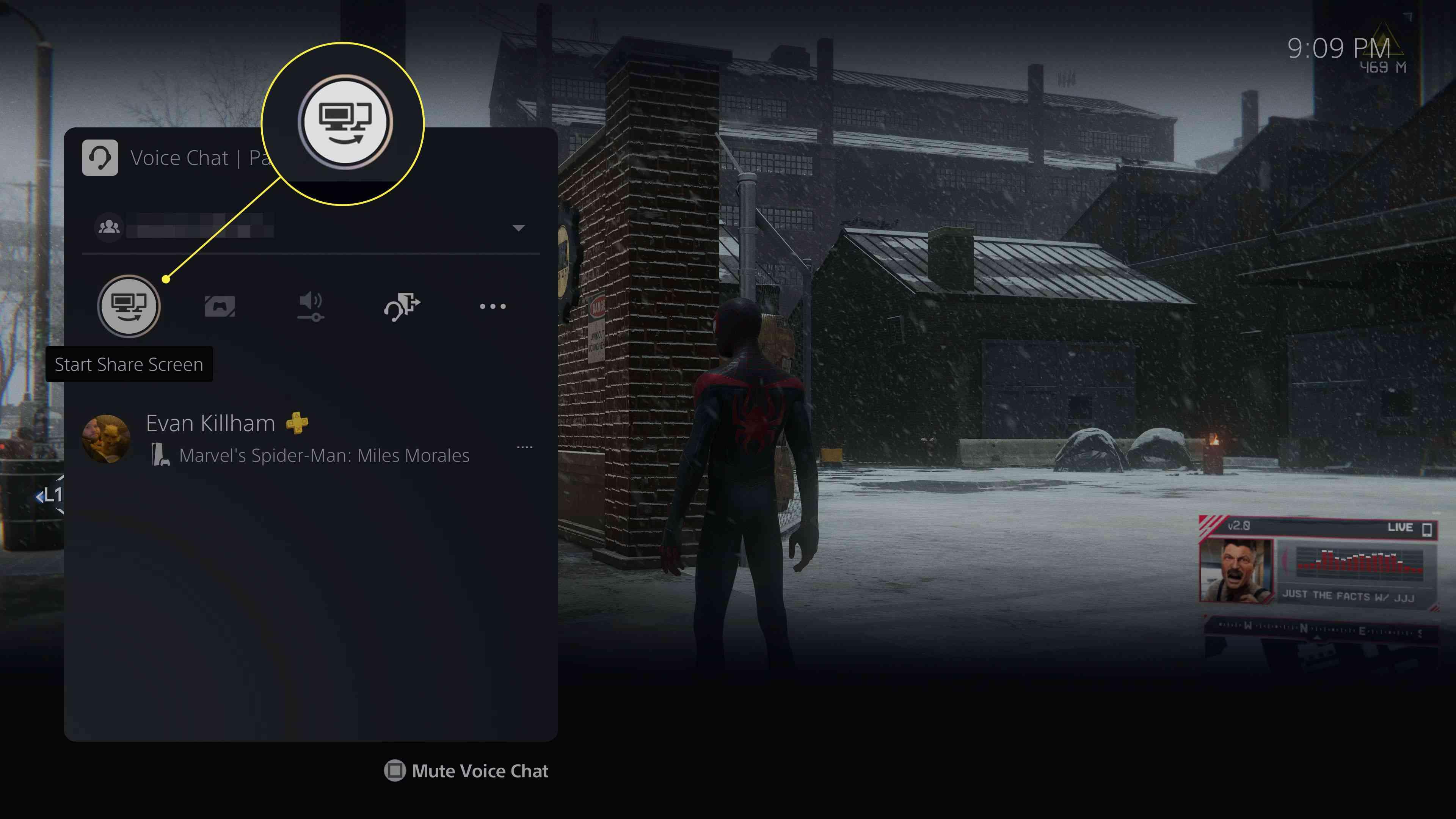 The Start Share Screen button