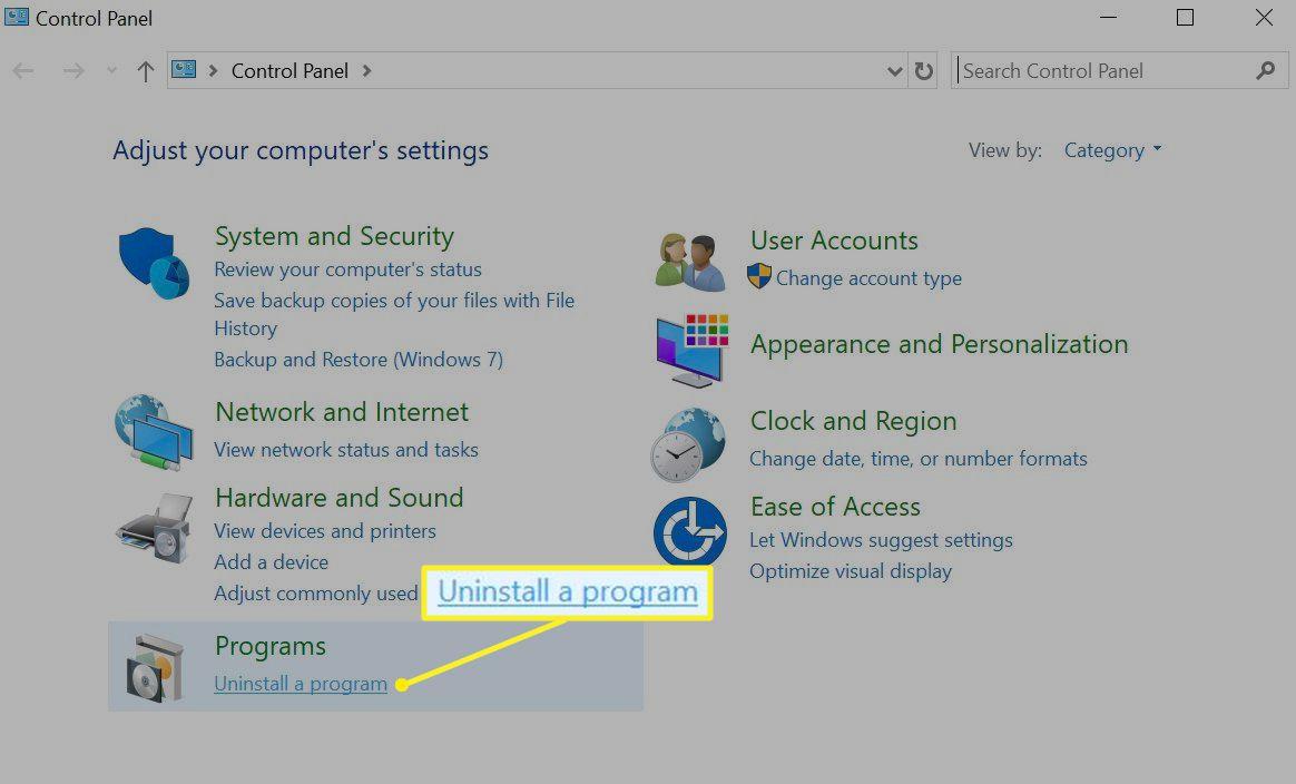 Windows uninstall a program option on Control Panel