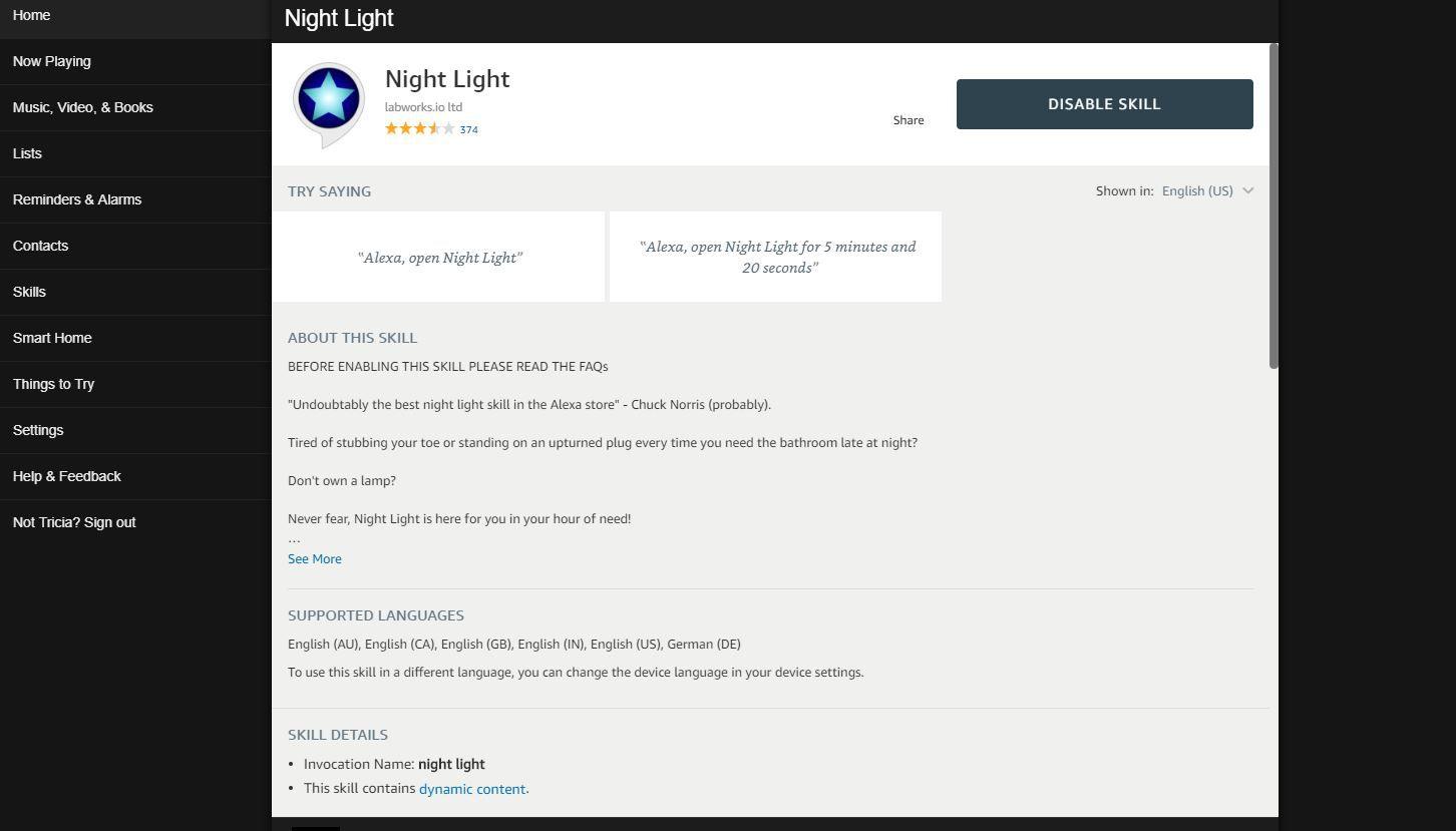 Screenshot of Night Light skill