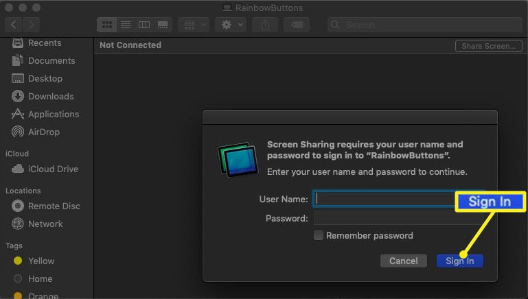 Finder Screen Sharing Sign In button