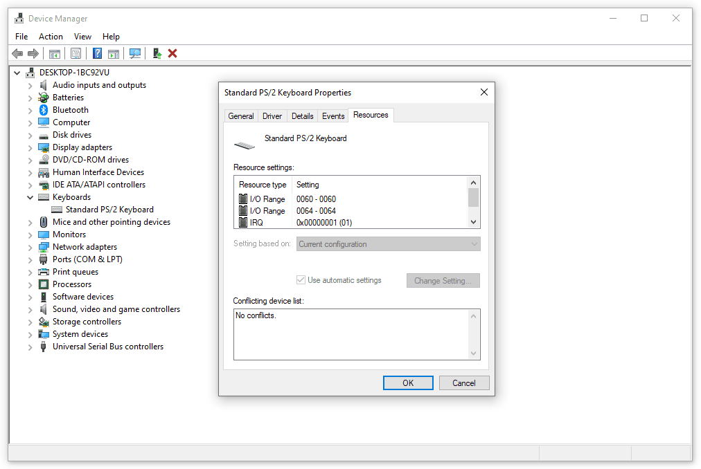 Keyboard IRQ properties in Device Manager