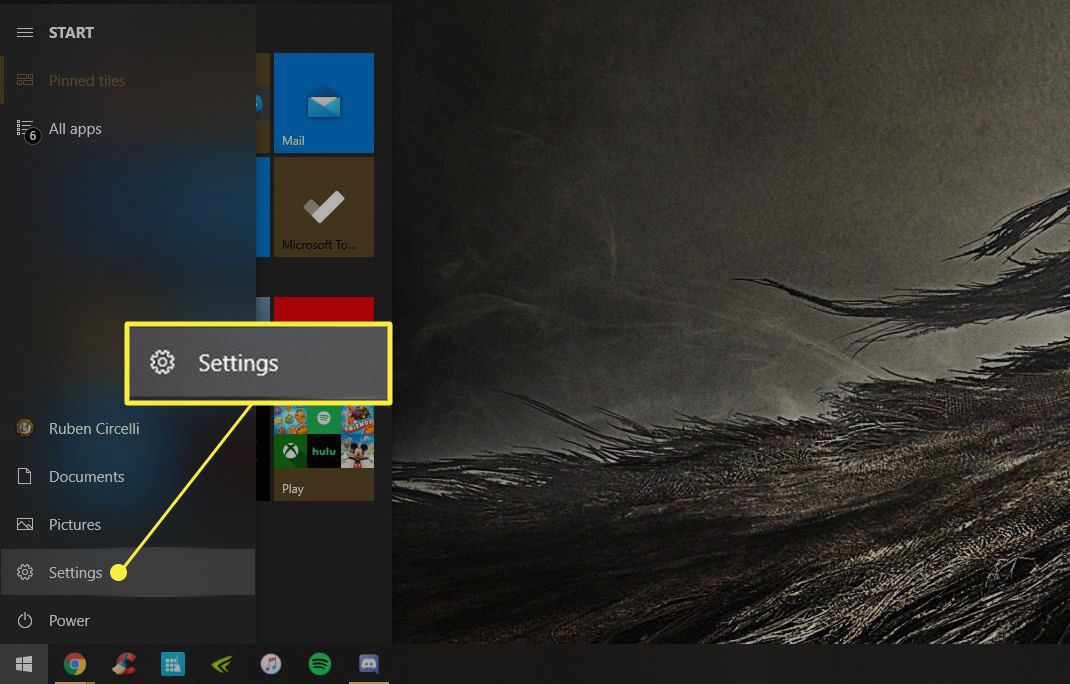 Windows Start menu with Settings highlighted