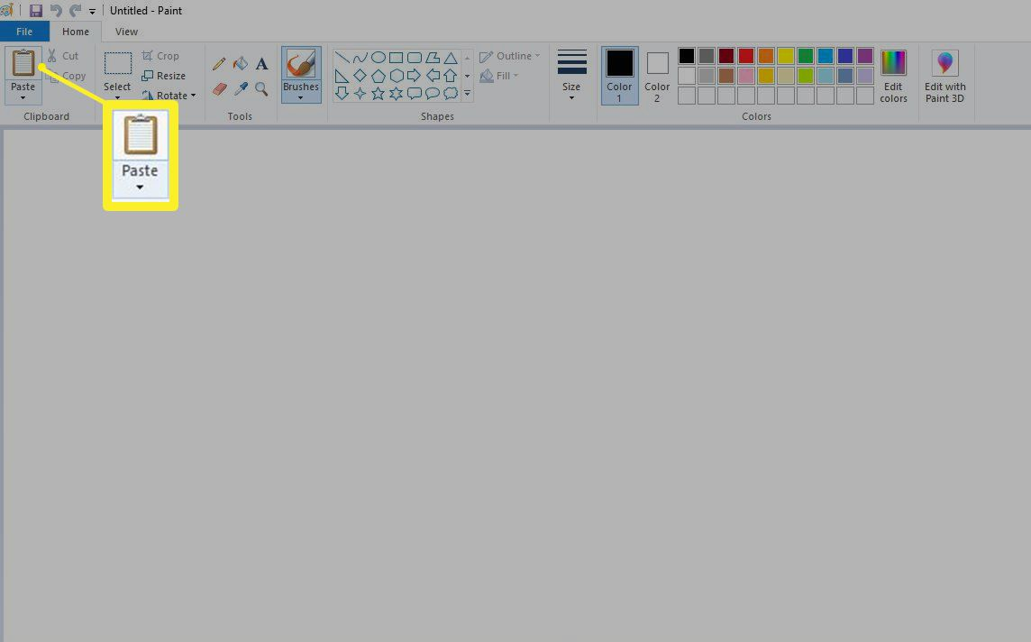 Screenshot of Paste button in Paint