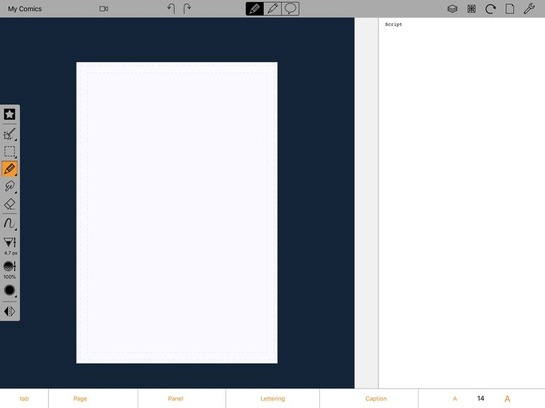 Screenshot of new, blank drawing in Comic Draw