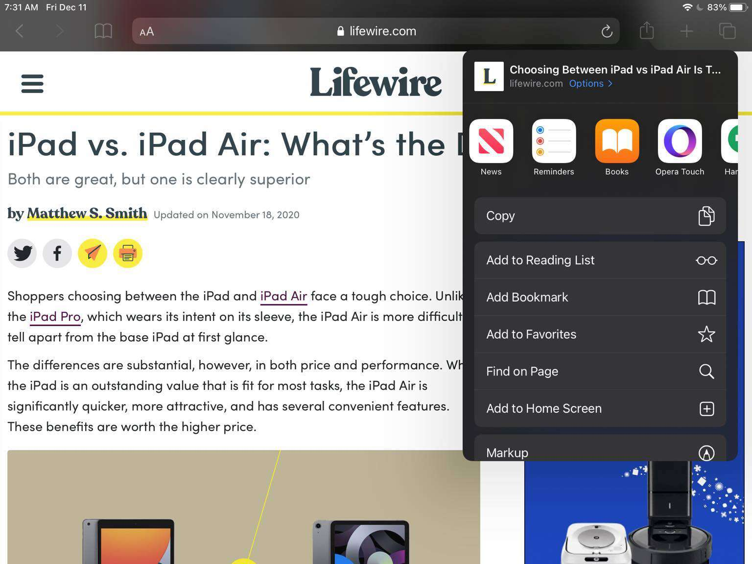 Screenshot of the send to Books option on an iPad