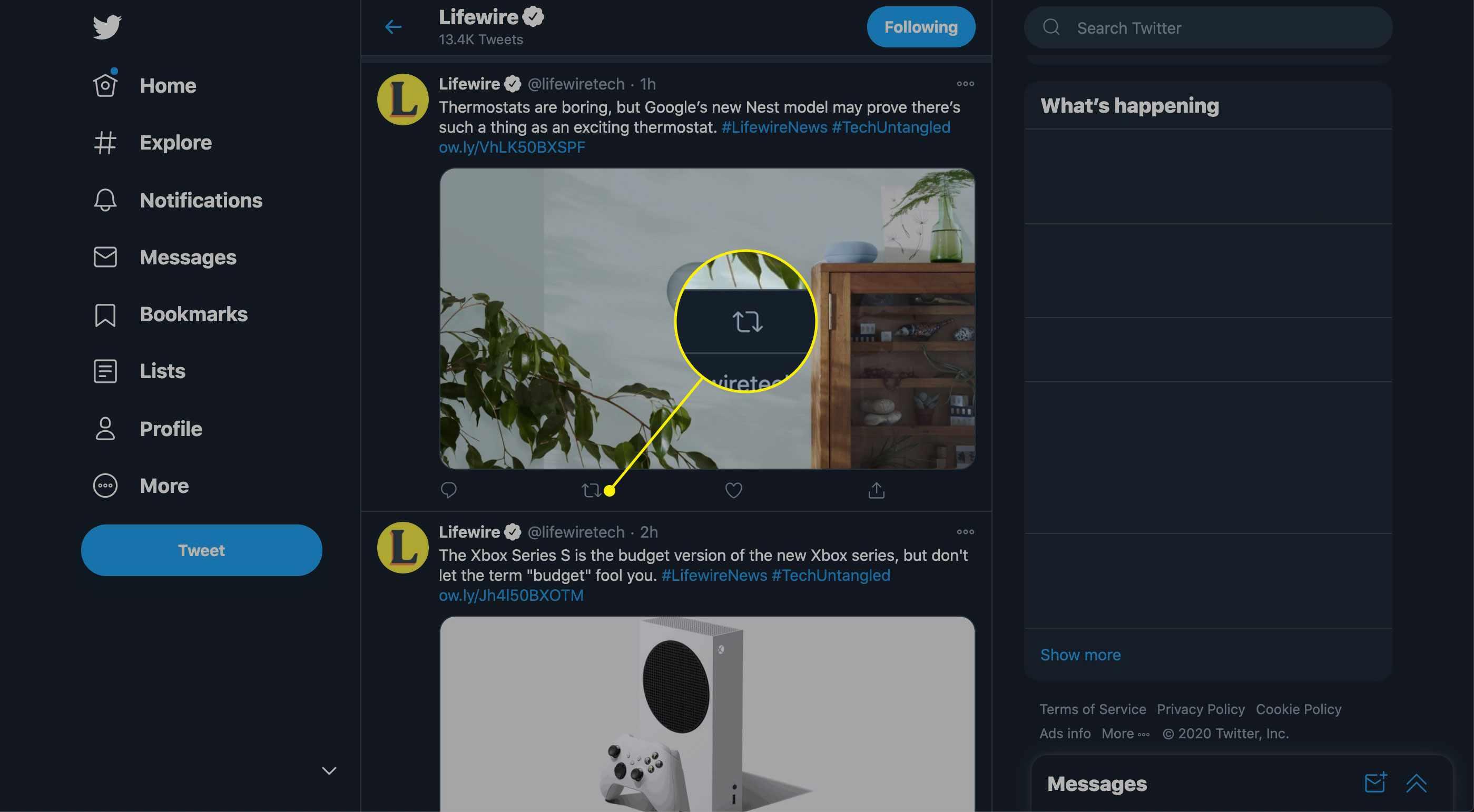 The Retweet button on Twitter