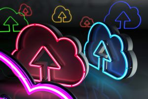 Arrow pointing up in neon clouds