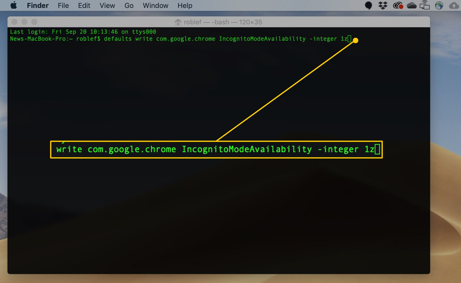 macOS Terminal command to disable Incognito Mode