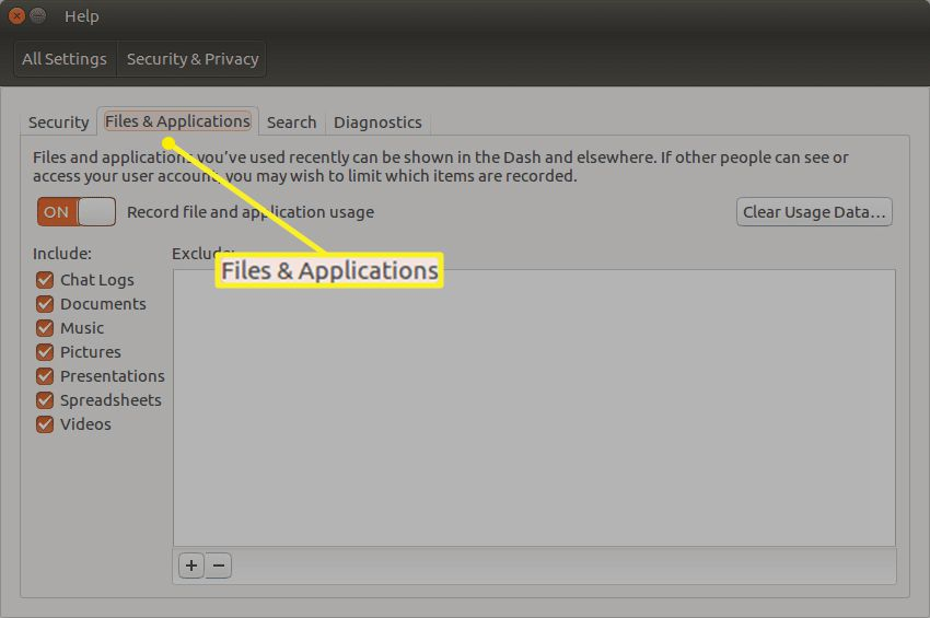 Ubuntu Security & Privacy settings with Files & Applications highlighted