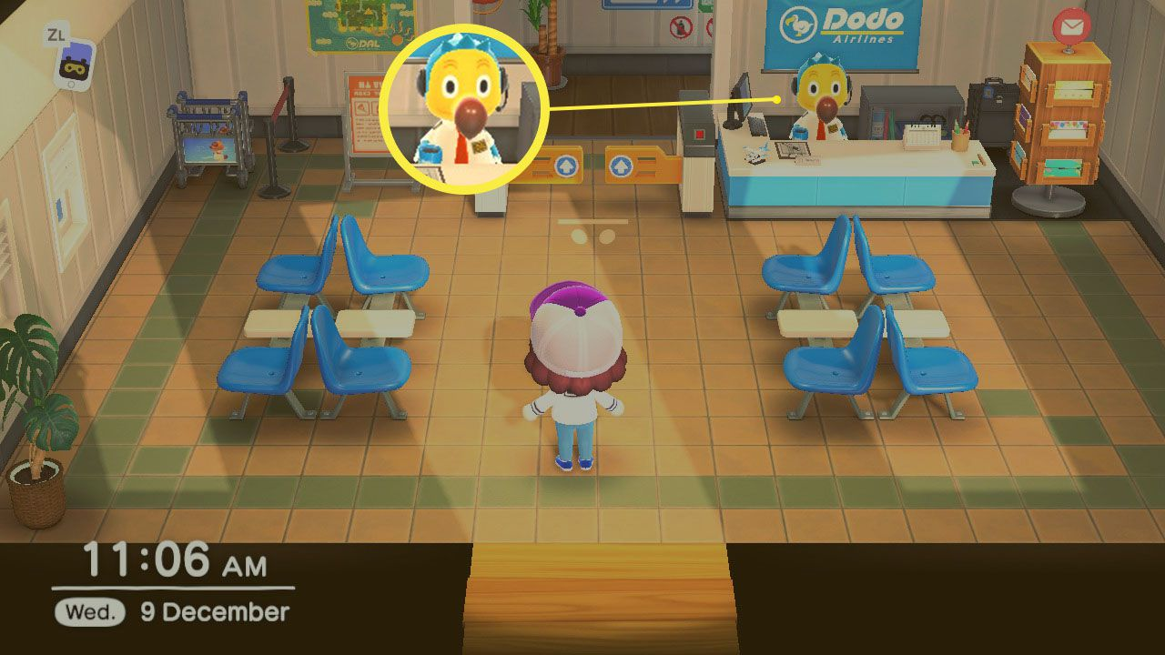 Orville in Dodo's Airlines in Animal Crossing; New Horizons