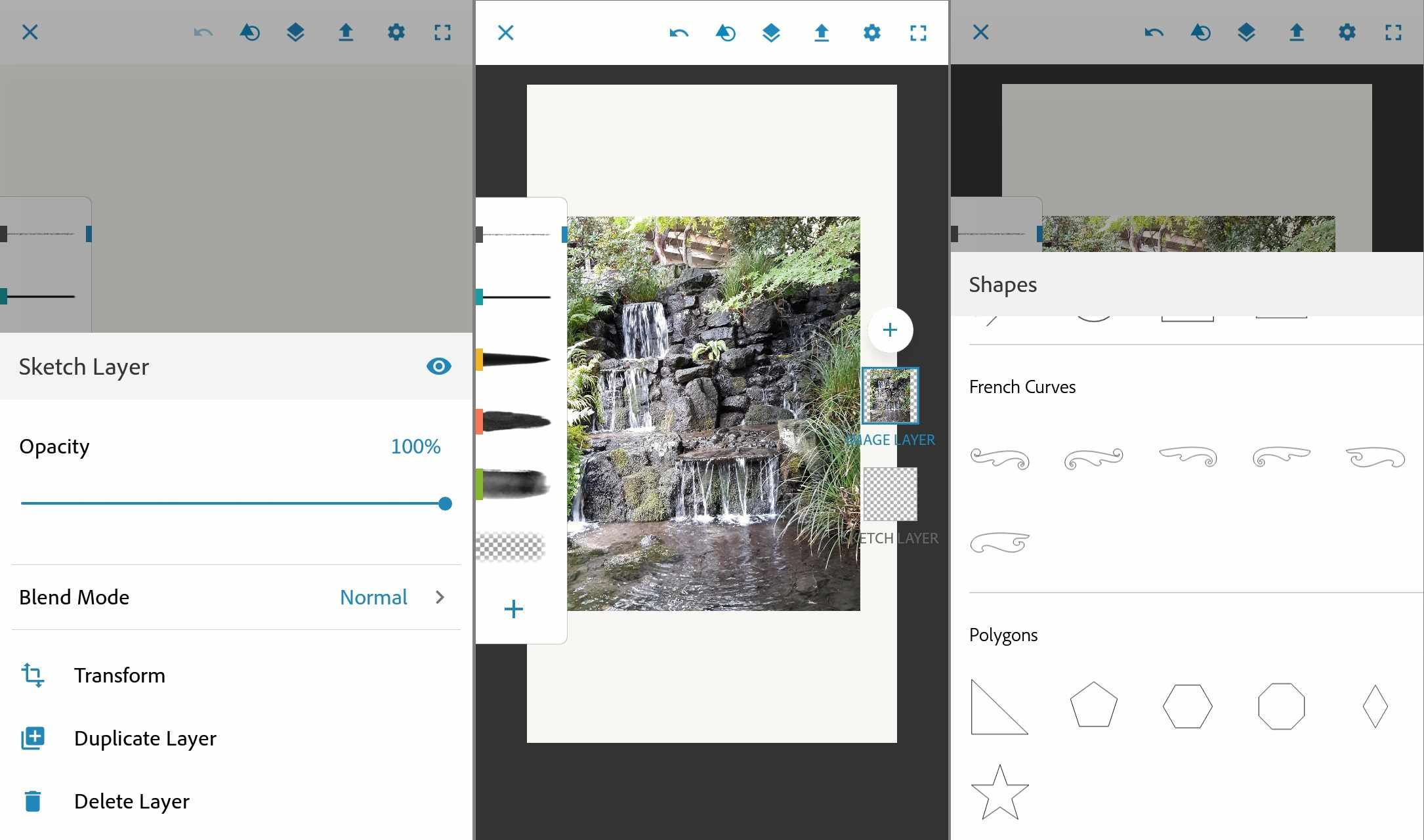 The Adobe Photoshop Sketch app for Android