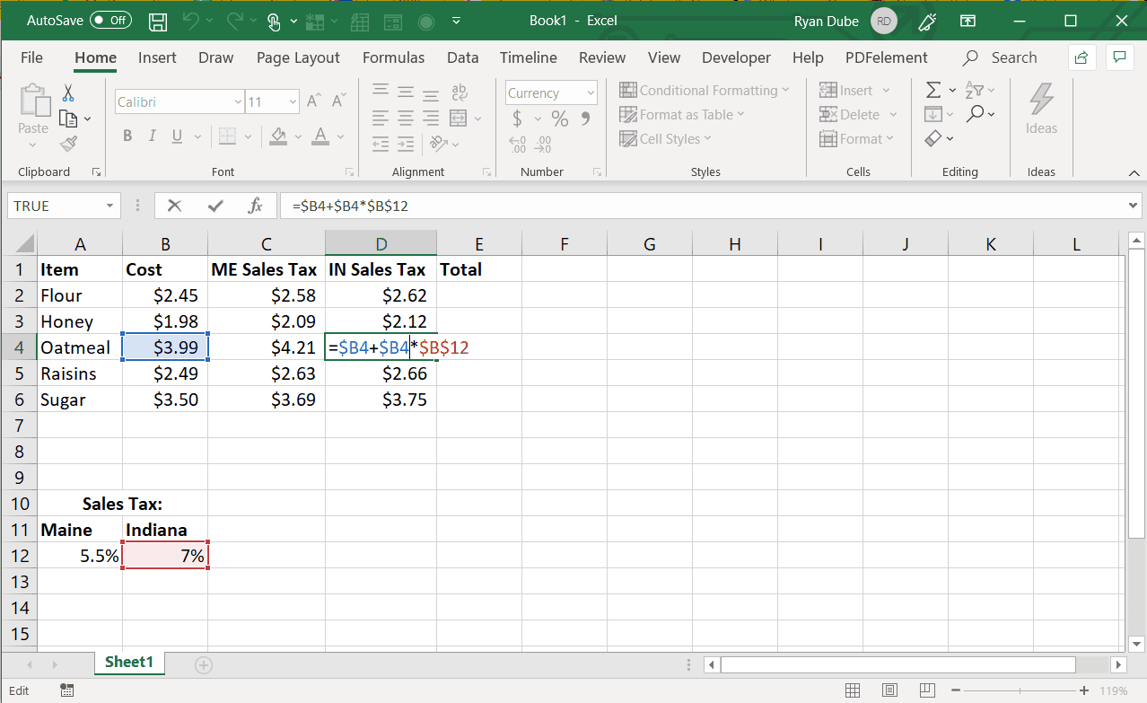 Screenshot of absolute column and row reference after a column fill