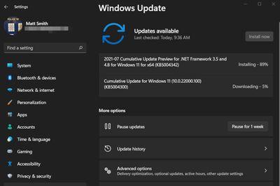 A screenshot of the Windows Update screen in Windows 11.