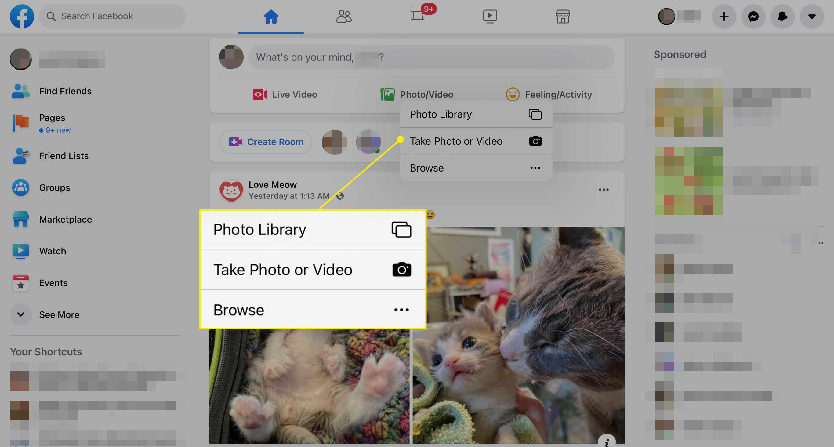 Photo upload options on Facebook via Safari on iPad