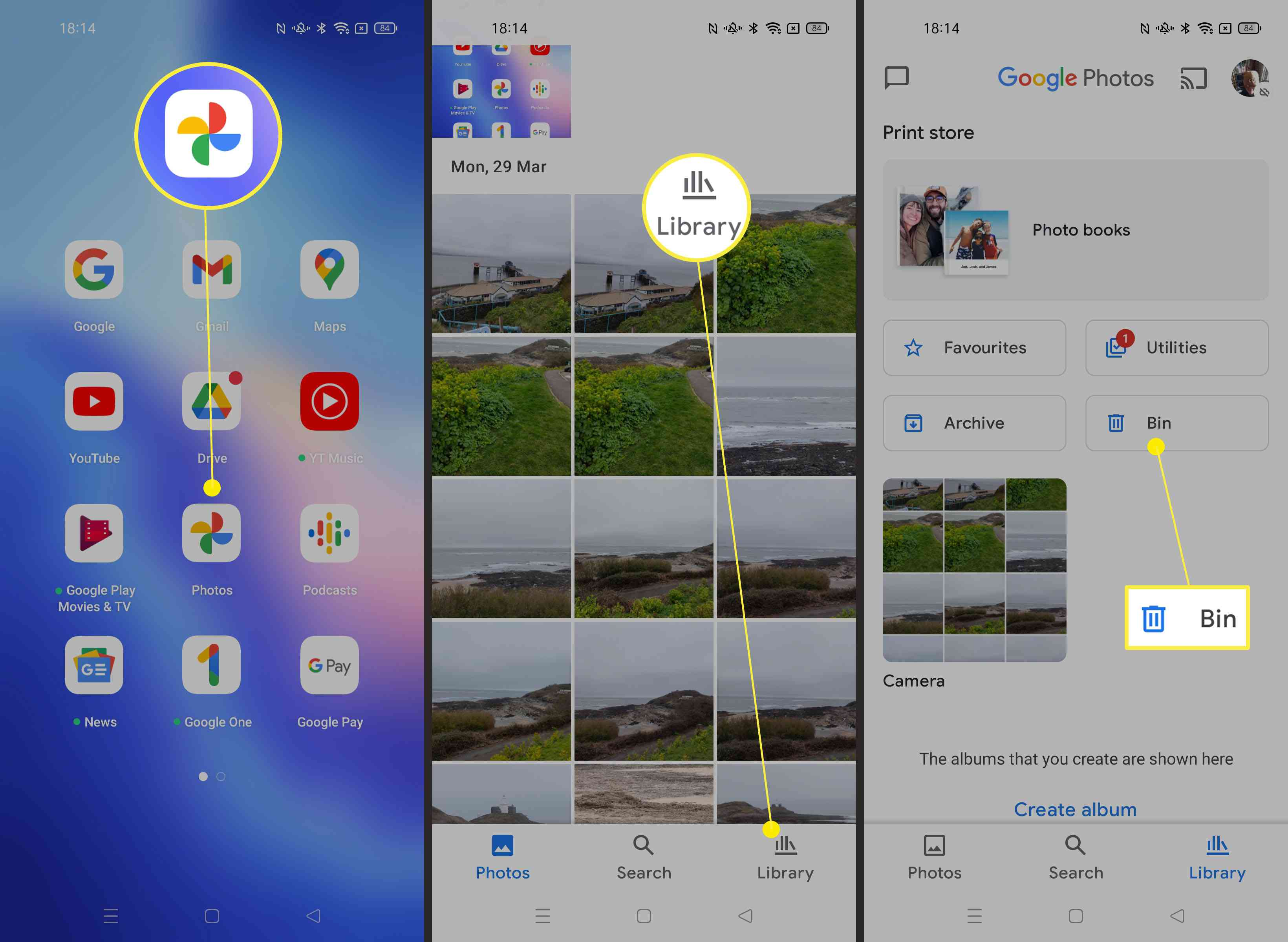 Steps needed to find your Photos trash can on an Android