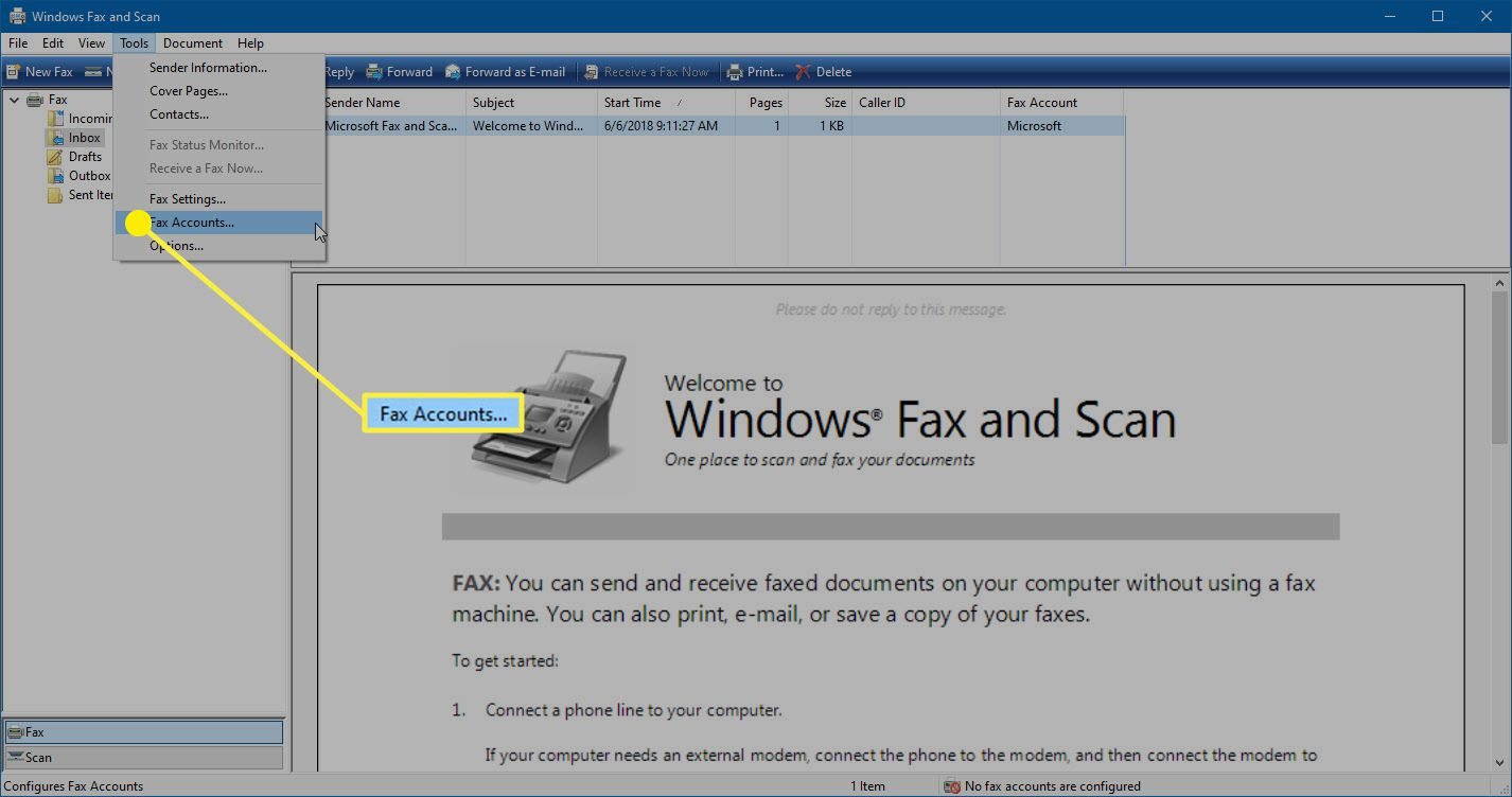 The Fax Accounts option in Windows Fax and Scan.