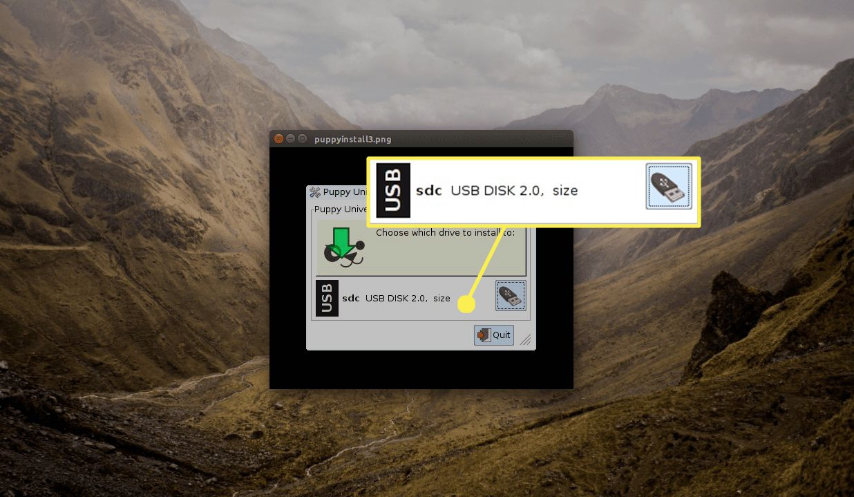 Press the USB device icon, and choose the USB drive that you wish to install to.