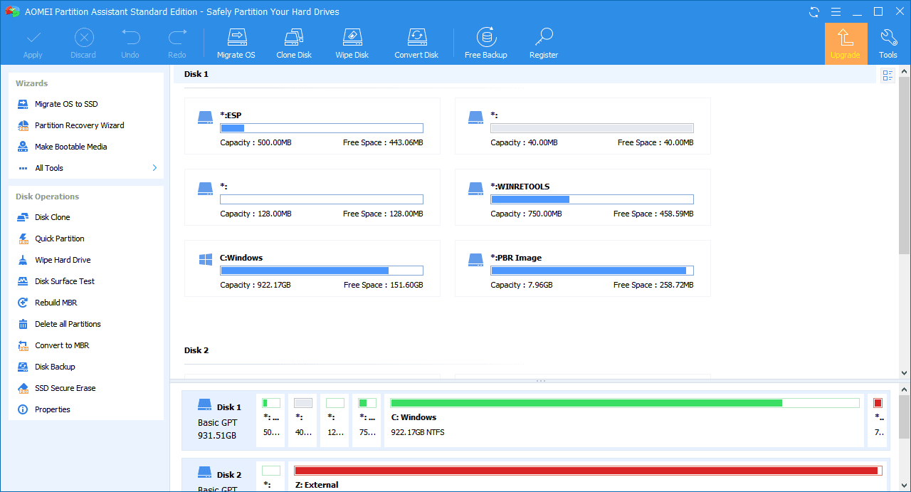 Screenshot of AOMEI Partition Assistant Standard Edition v9.0